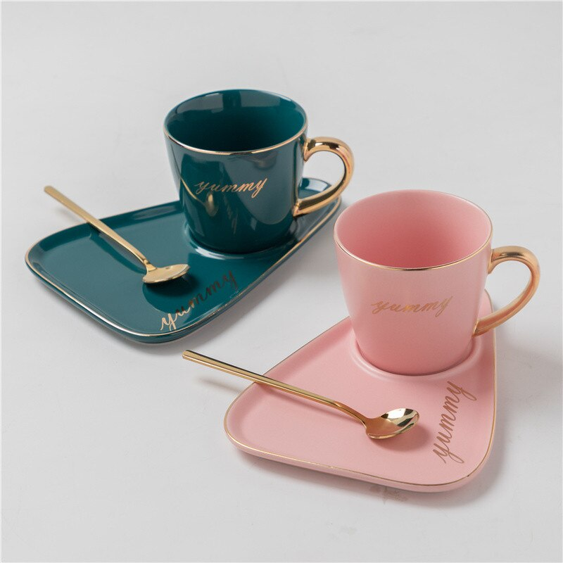 Cup With Spoon European Luxurious Ceramic Office Coffee Cup And Saucer Set Milk Tea Mugs Birthday Couples Gifts Friends Gift Box