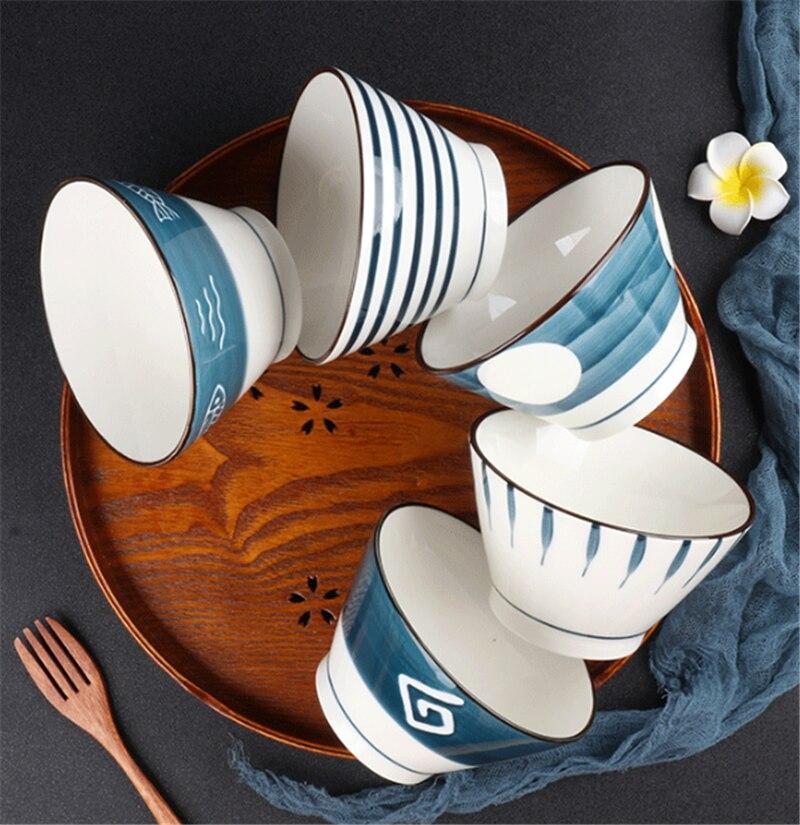 Japanese household ceramic rice bowl noodle bowl soup bowl dessert bowl Korean ice bowl creative retro tableware hat bowl