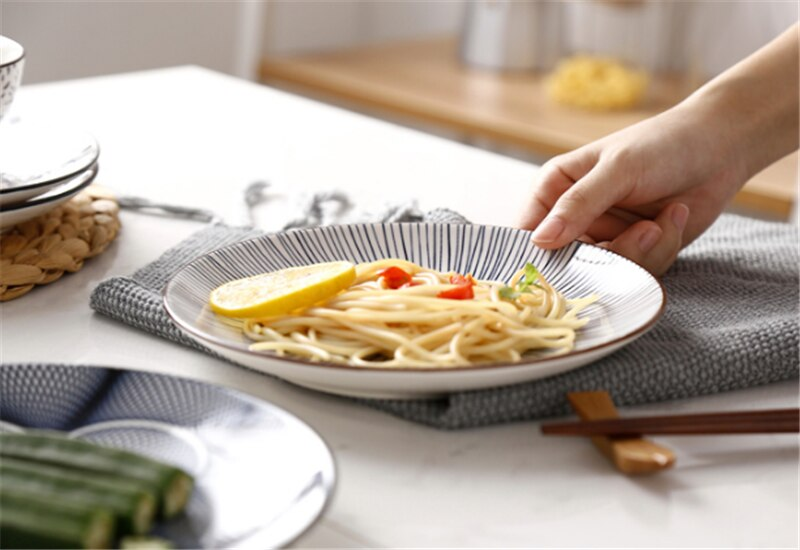 Creative retro hand-painted ceramic cutlery household round flat steak plate art decorative dishes dinner plates ceramic tray