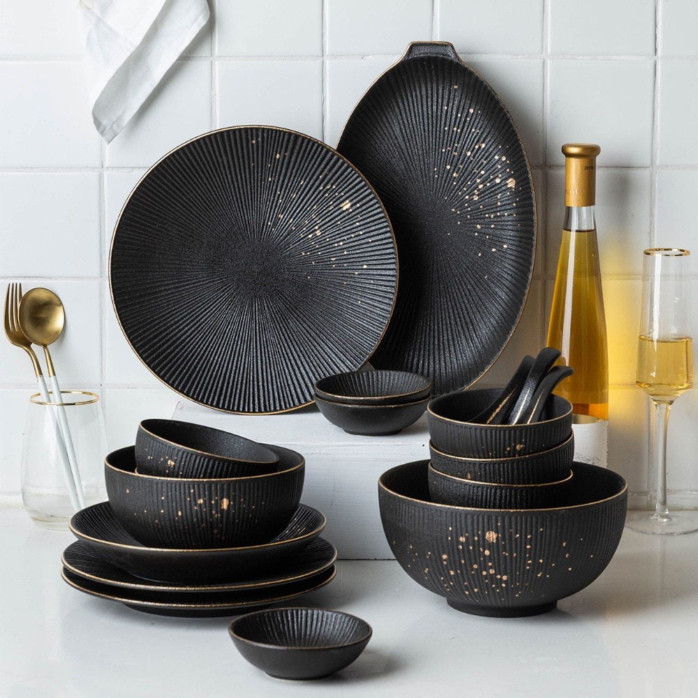 MDZF Ceramic Black Dinner Plate Golden Polka Dot Soup Rice Bowl Steak Pasta Salad Plate Sauce Dish Spoon Kitchen Tableware Set