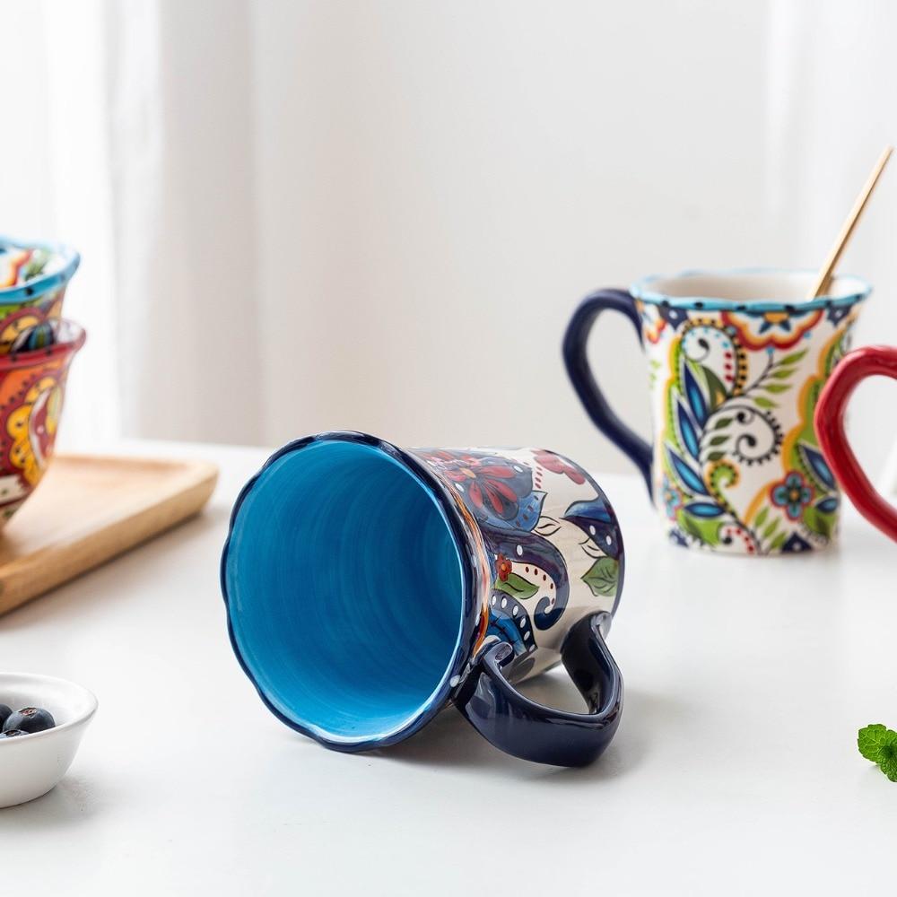 MDZF SWEETHOME 500ml Large Bohemian Mug Ceramic Mark Cup Breakfast Coffee Milk Tea Fruit Juice Couple Cup Drinkware Tool
