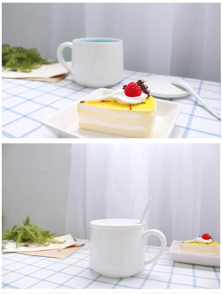 New Cartoon Ceramic Coffee Mug with Lid and Spoon Creative Cute Cat Coffee Mug Dog In Aniaml Breakfast Tea Cup Office Custom Hot