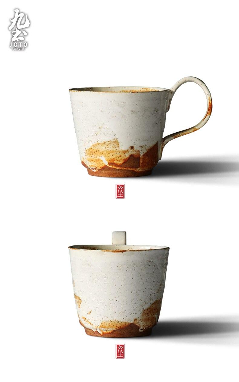 Handmade Retro Coffee Cup Creative Ceramics Mug with Handle Tea Cup Vintage Japanese Water Cup Tazas De Ceramica Creativas Mugs