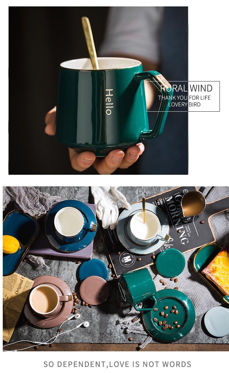 Creative Ceramic Coffee Cup Saucer European Small Luxury Mark Cup Lid Spoon Stirring Cup Set Household Cute Mugs Travel Mug
