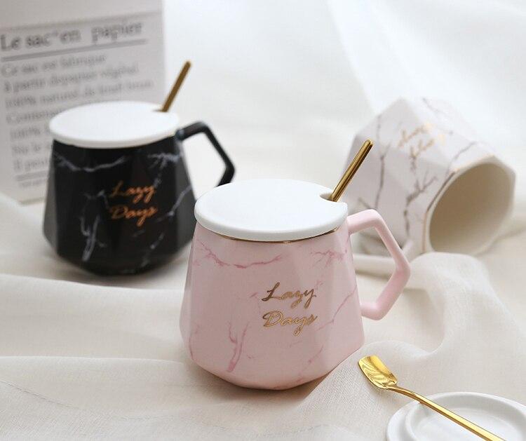 Nordic Luxury Coffee Mug Ceramic with Cover Spoon Couple Water Cup Funny Mug Travel Enamel Cute Mug Tazas Para Cafe Gift Box Hot