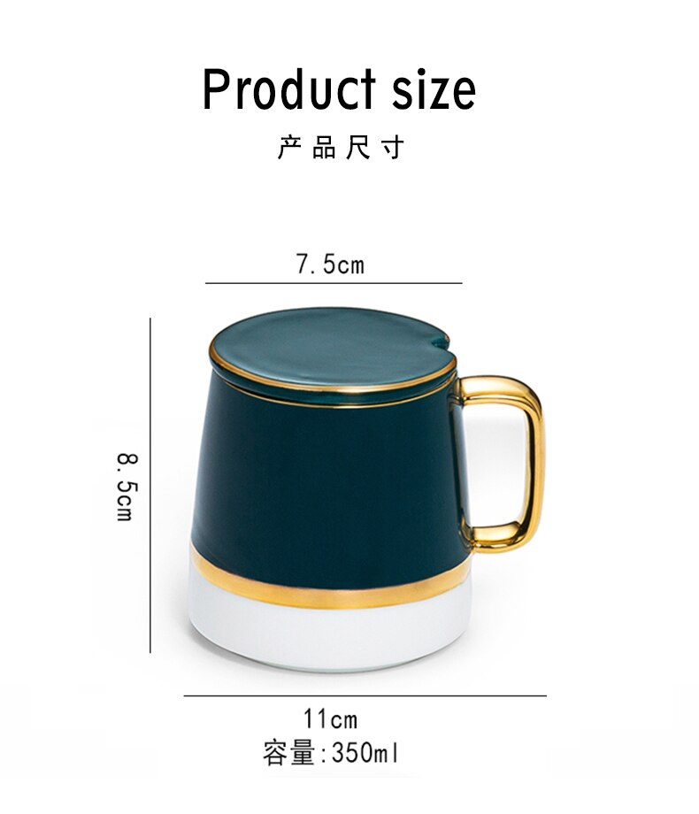 Creative Personality Cup Ceramic Mug Lid Spoon Trend Couple Drinking Men and Women Home Coffee Cup Cups and Mugs Europe