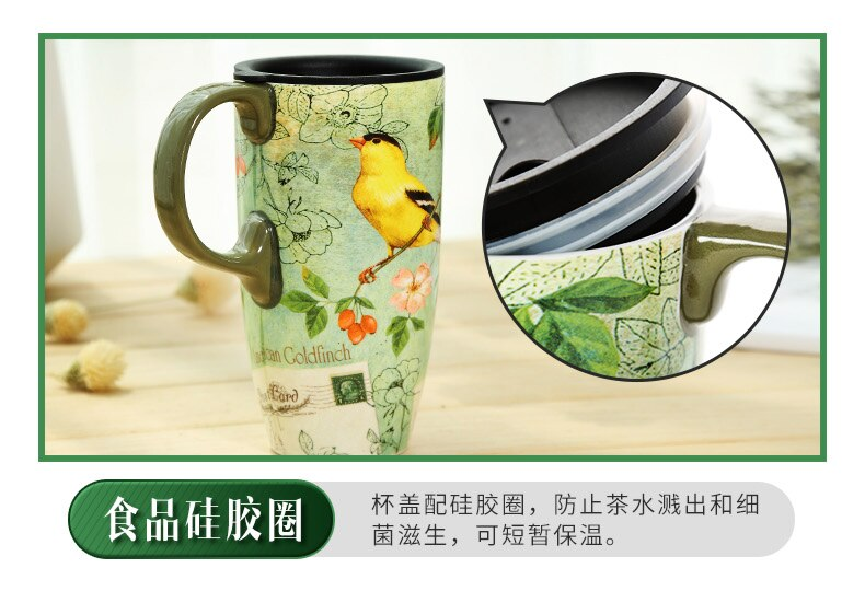 Creative Coffee Mugs Ceramic Large Capacity Water Cup Retro Coffee Cup Office Milk Tea Cup with Cover Taza Cafe Birthday Gift