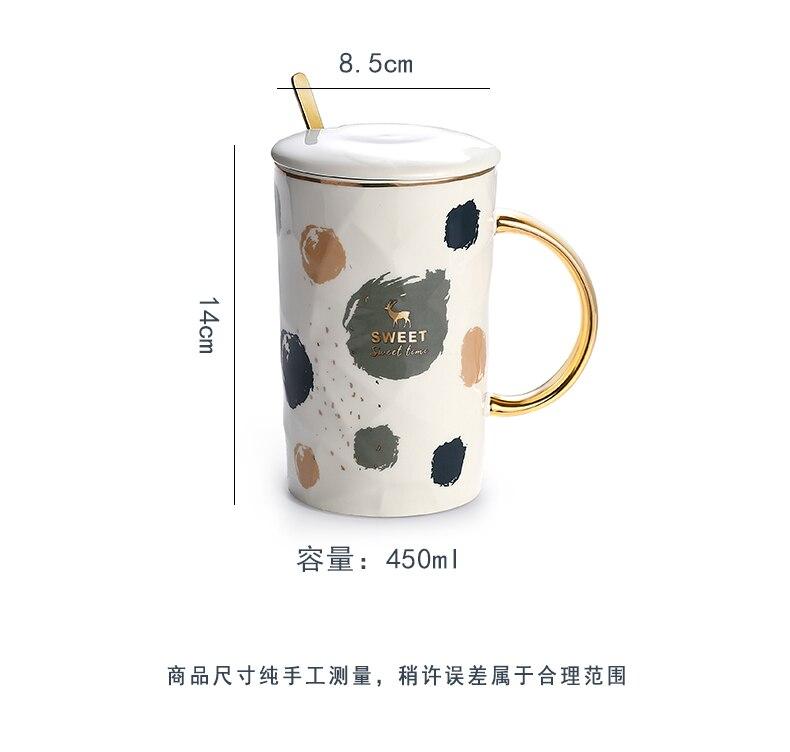 Handmade Coffee Mugs Gold Handle with Lids and Spoon Japanese Ceramic Coffee Mug Luxury Large Enamel Mug Water Bottle Caneca Hot