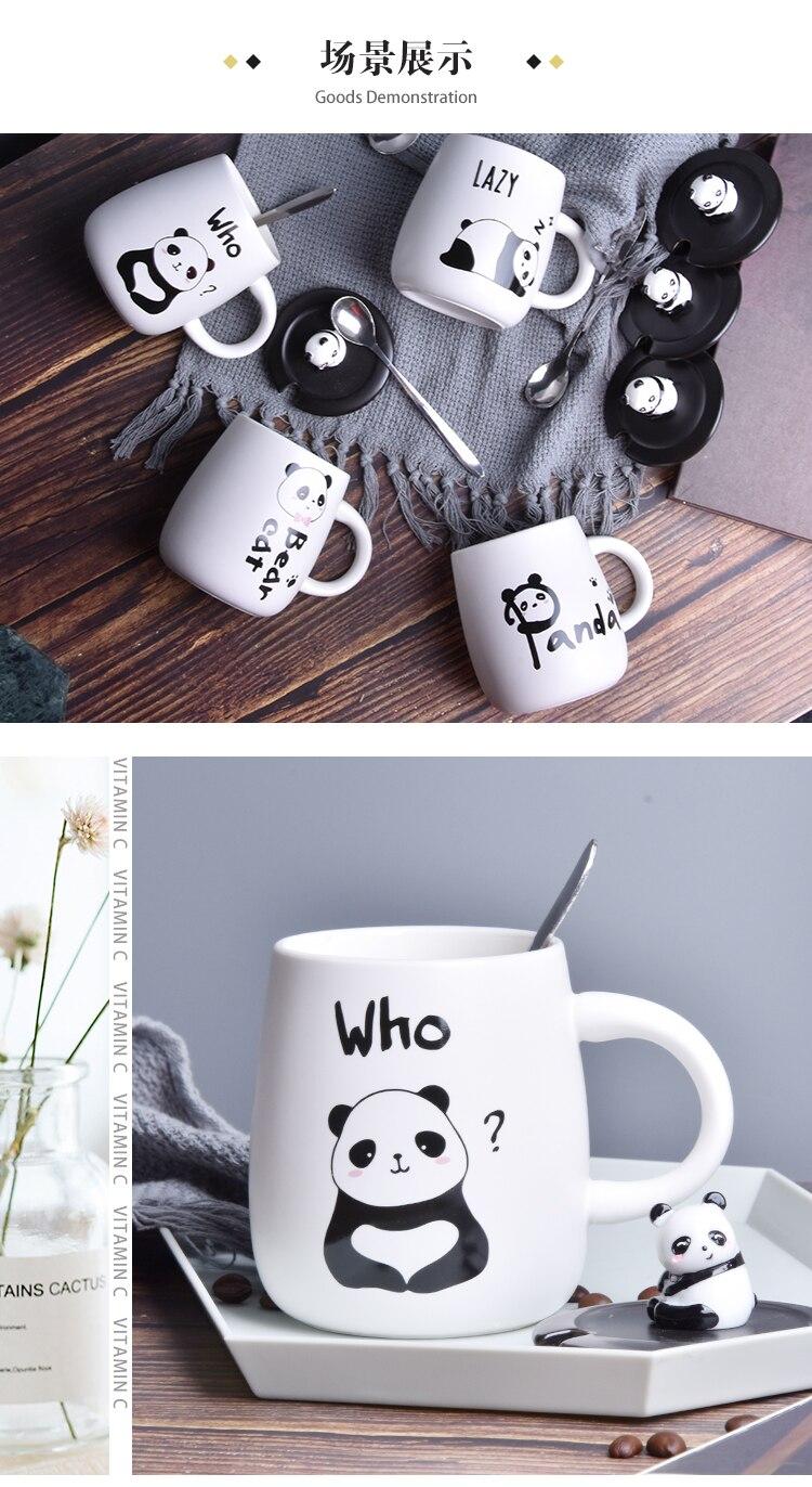 New Cartoon Ceramic Coffee Mug with Lid and Spoon Milk Cat Bear Coffee Mugs Lovely Couple Nordic Milk Coffee Tea Cup Christmas