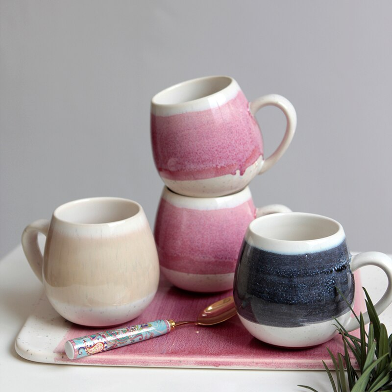 Vintage Coffee Mugs Handmade Porcelain Milk Mugs Big Ceramic Travel Tea Cup Reusable Coffee Mug Luxury Blue Tazas Para Cafe Cups
