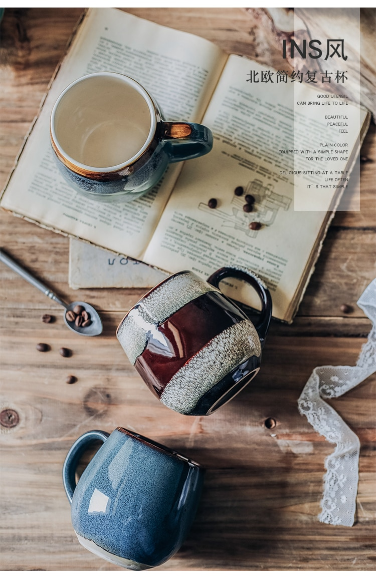 Luxury Blue Vintage Coffee Mugs Handmade Porcelain Milk Mugs with Lids Big Ceramic Travel Tea Cup Reusable Coffee Mug Enamel New