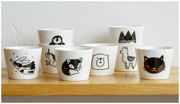 Cute White Coffee Mugs Porcelain Cat Dog Animal Handmade Coffee Mug Tea Cup Ceramic Lovely Fox Alpaca Penguin Simple Funny Mugs