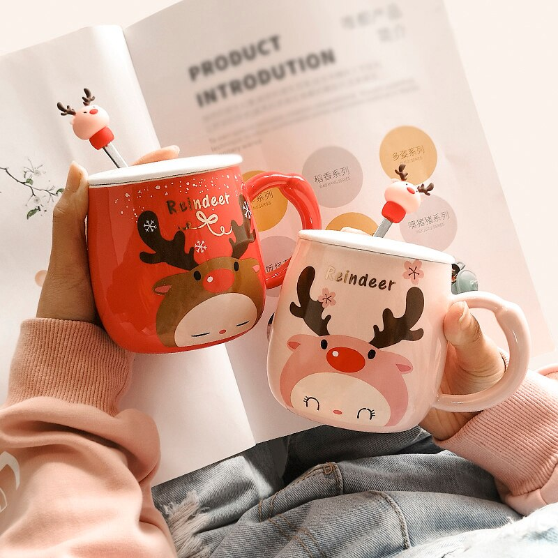 Cartoon Deer Coffee Mugs Handmade Cute Coffee Tea Cup Travel Christmas Mugs Friends Tazas De Ceramica Creativas Enamel Mug Hot