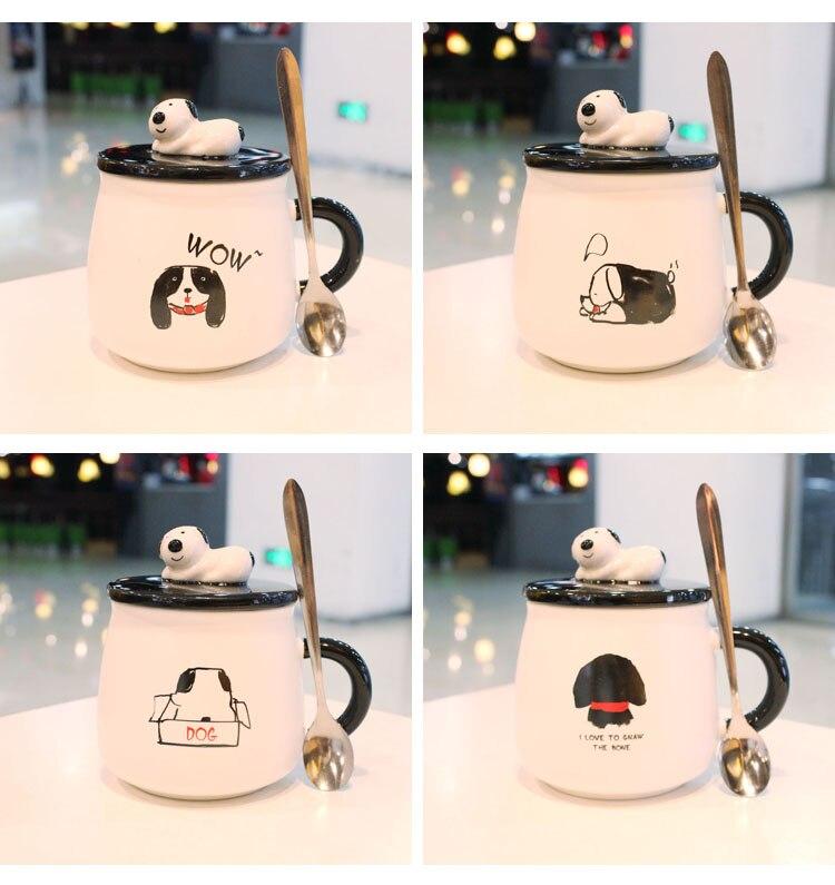 Dog Big Coffee Mug Ceramic Cute New Cartoon Ceramic Coffee Mug with Lid and Spoon Water Cup Office Breakfast Milk Coffee Cup Hot
