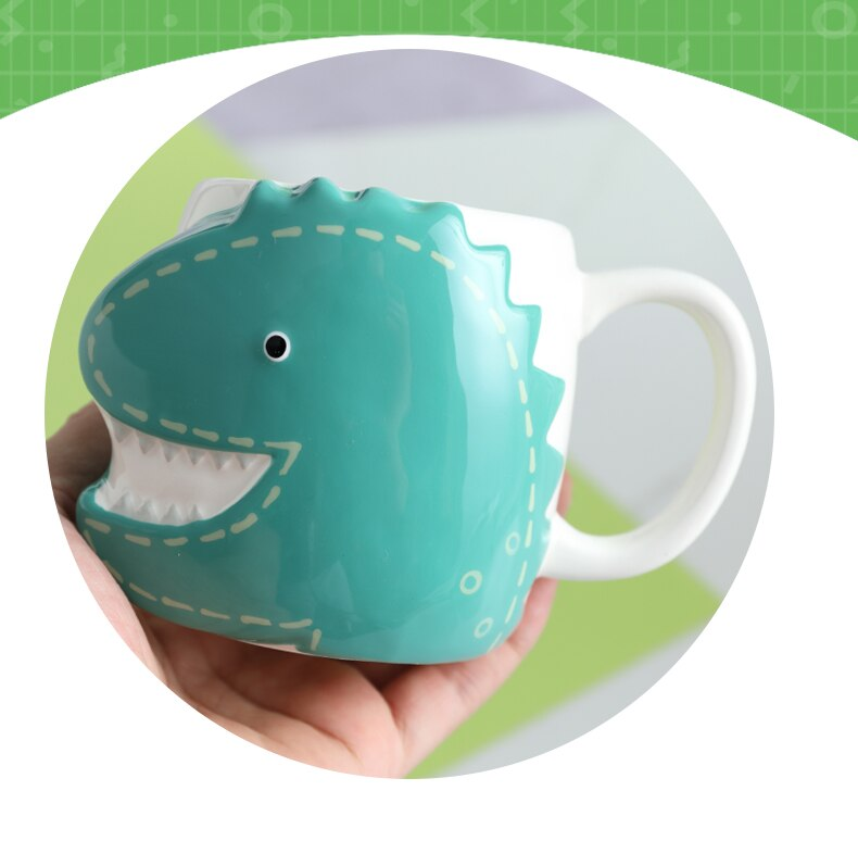 Handmade Cute Coffee Mugs Ceramic Dinosaur Porcelain Coffee Mugs with Lids Cartoon Creative Children Milk Breakfast Water Cups