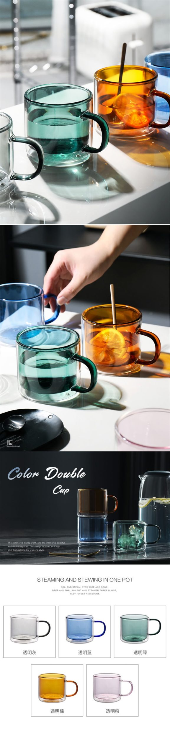 New Heat-resistant Double Wall Glass Cup Espresso Coffee Cup Set Handmade Beer Mug Tea glass Whiskey Glass Handle Cups Drinkware
