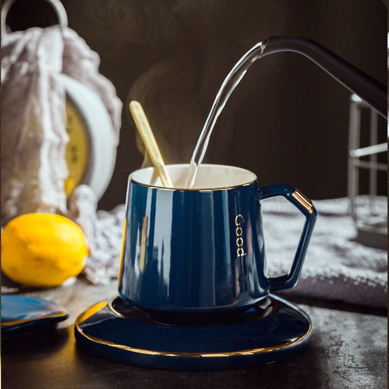 380ml Creative Coffee Cup Set Ceramic Breakfast Milk Cup Afternoon Tea Cup European Simple Style Water Cafe Cup with Handle