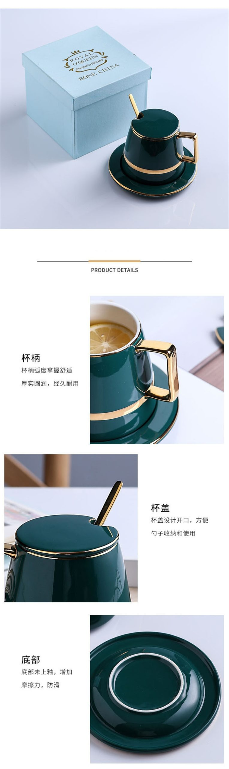 Creative Coffee Cup and Saucer Set Ceramic Breakfast Milk Cup Afternoon Tea Cup European Simple Style Water Cafe Cup with Handle
