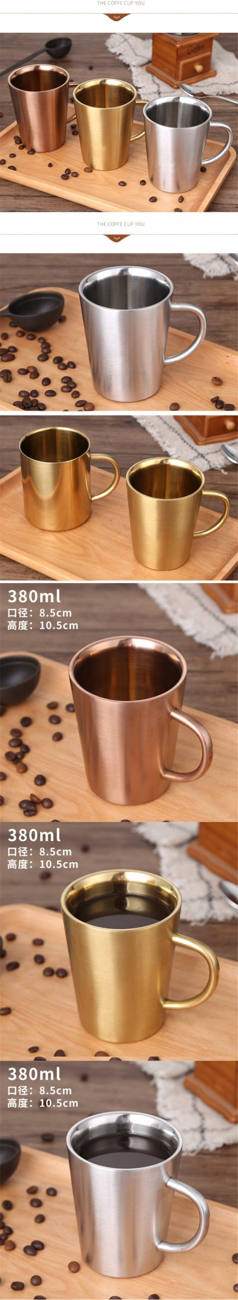 380ml 304 Stainless Steel coffee cups Coffee cupDouble layer heat protection European style Mug Cappuccino flower cups Latte