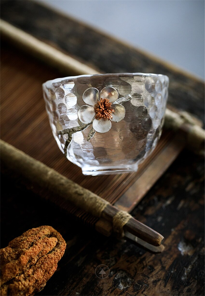 1pc Glass Tea Cup Chinese KungFu Tea Set Porcelain Teacup Tea accessories Puer cup Tin system Small Tea Bowl Gift