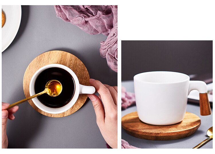 280ml Simple Art Ceramic Matte Black and White Coffee Cup Set Home Afternoon Tea Flower Tea Cup Wooden Handle Luxury Couple Mug