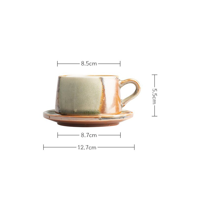 2pcs Japanese Art Retro Stoneware Coffee Cup and Saucer Set Minimalist Household Ceramic Latte Cup Breakfast Milk Mug with Spoon