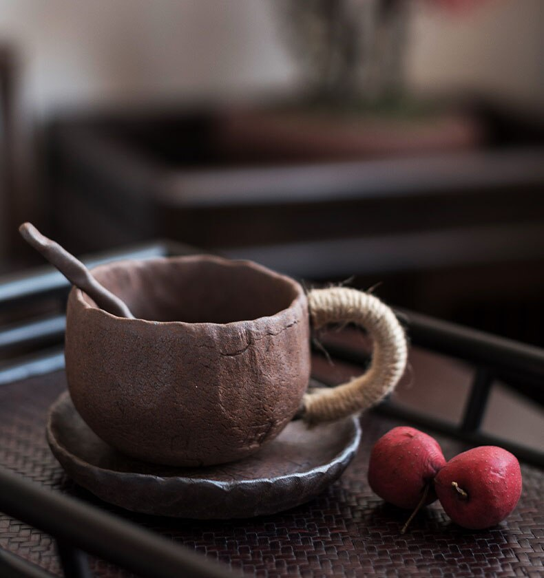 225ml Japanese Art Ceramic Coffee Cup and Saucer Simple Household Stoneware Breakfast Milk Mug Commercial Latte Latte Cup Single