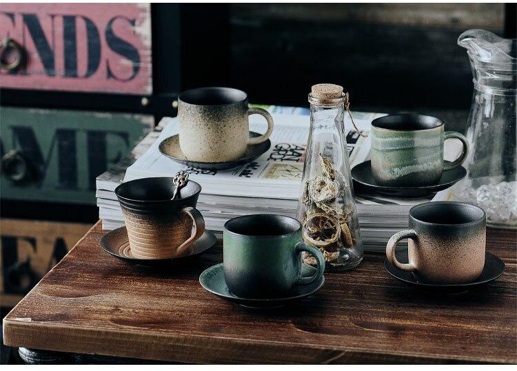 220ml Nordic  Retro Ceramic Coffee Cup and Saucer Set American Simple Household Milk Mug Couple Water Cup Afternoon Tea Tea Set