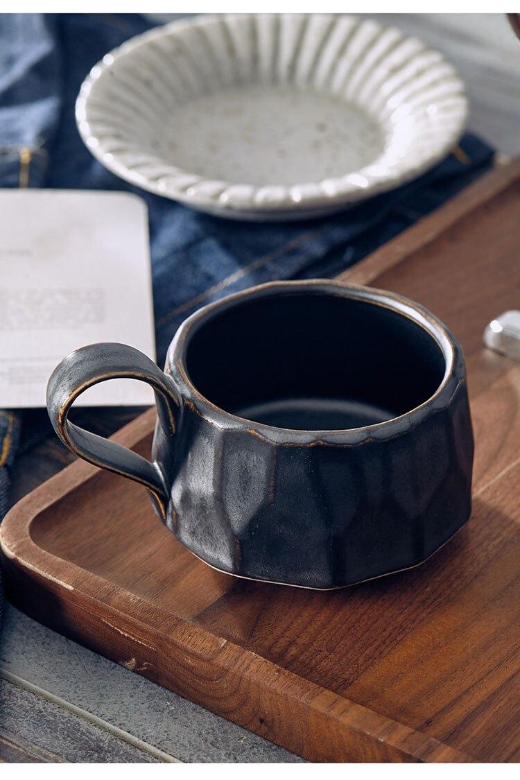 250ml Japanese Art Retro Ceramic Coffee Cup Single Simple Cafe Retro Stoneware Milk Mug Simple Home Afternoon Tea Tea Set 225ml