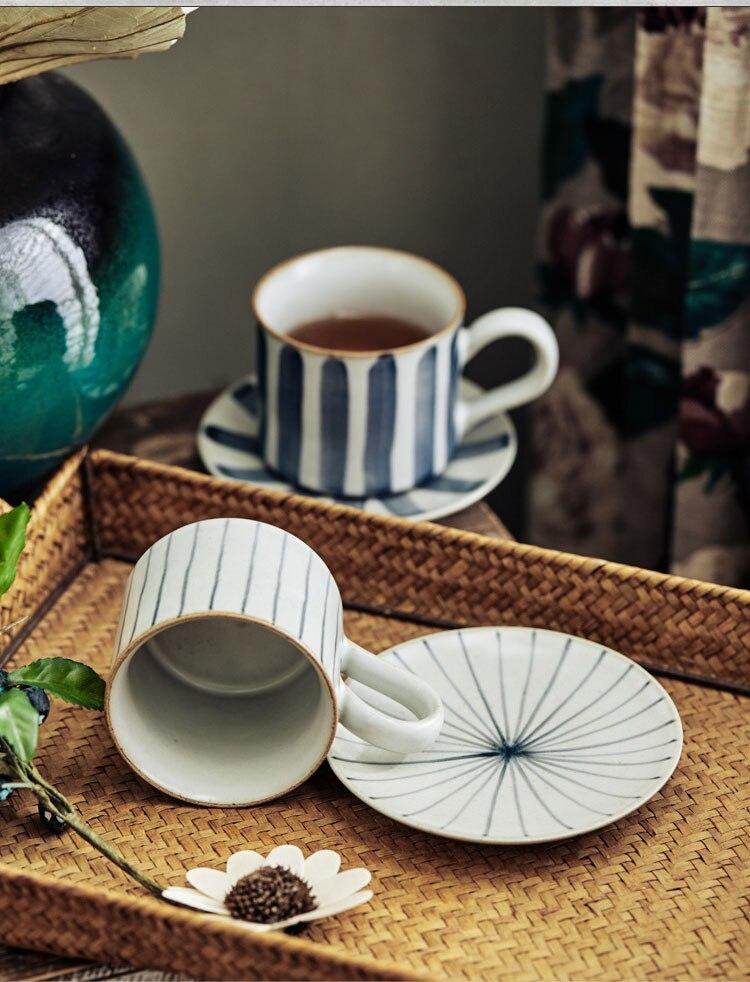 Nordic Art Retro Ceramic Stripe Coffee Mug Cup Saucer Set American Afternoon Tea Mini 180ml Espresso Cup Simple Home Couple Cup