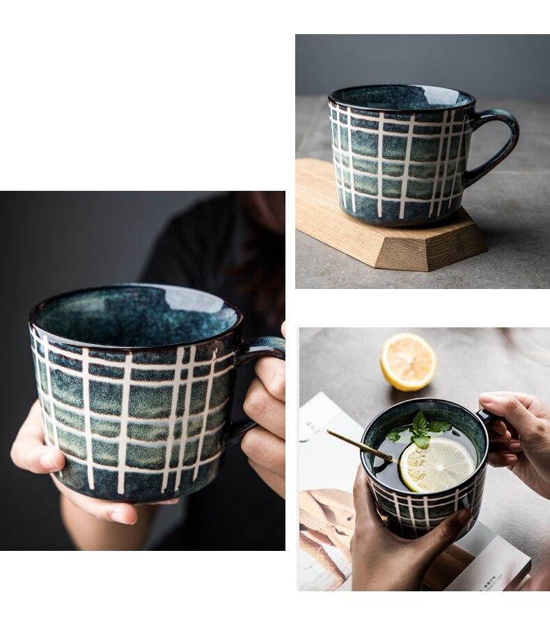 Japanese Art Retro Ceramic Blue Lattice Coffee Mug Home Big Mouth Breakfast Cereal Cup Afternoon Tea Flower Tea Cup 370ml Single