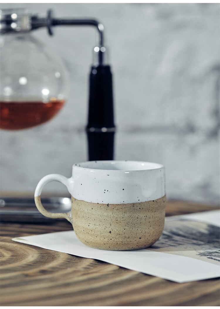 225ML Nordic Art Retro Frosted Ceramic Coffee Cup Single Modern Household Stoneware Coffee Mug American Office Afternoon Tea Set