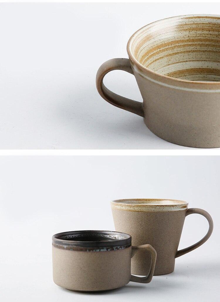 Japanese Style Retro Thread Stoneware Coffee Cup Saucer Set with Spoon Modern Minimalist Home Ceramic Breakfast Milk Cup Single