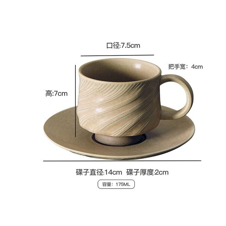 175ml Japanese Retro Stoneware Coffee Cup and Saucer Set English Afternoon Tea Black Tea Cup  Minimalist Home Ceramic Couple Mug