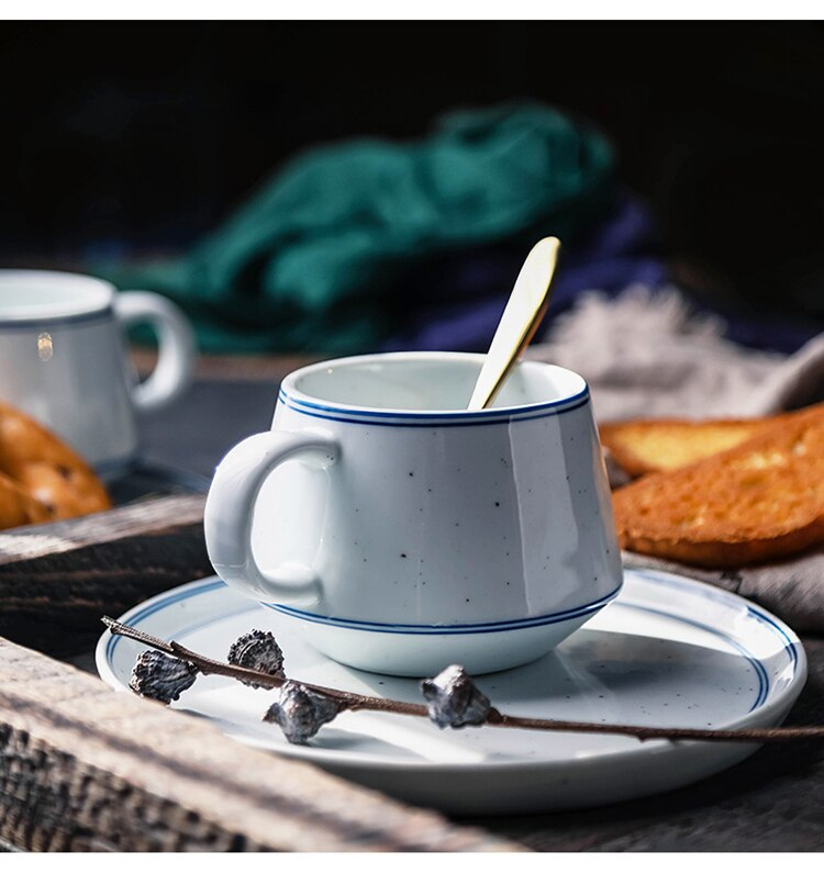 400ml Nordic Ceramic Coffee Cup and Saucer Set Simple European Luxury Home Breakfast Milk Cup English Afternoon Tea Tea Set Gift