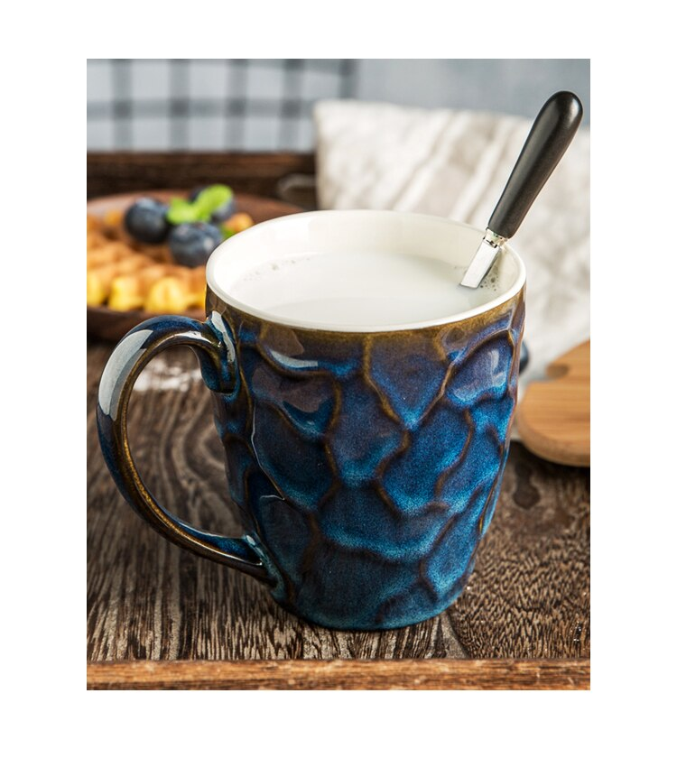 European Art Ceramic Coffee Mug with Lid Bump Texture Couple Travel Cup Home Afternoon Tea Tea Set Milk Instant Coffee Drink Cup