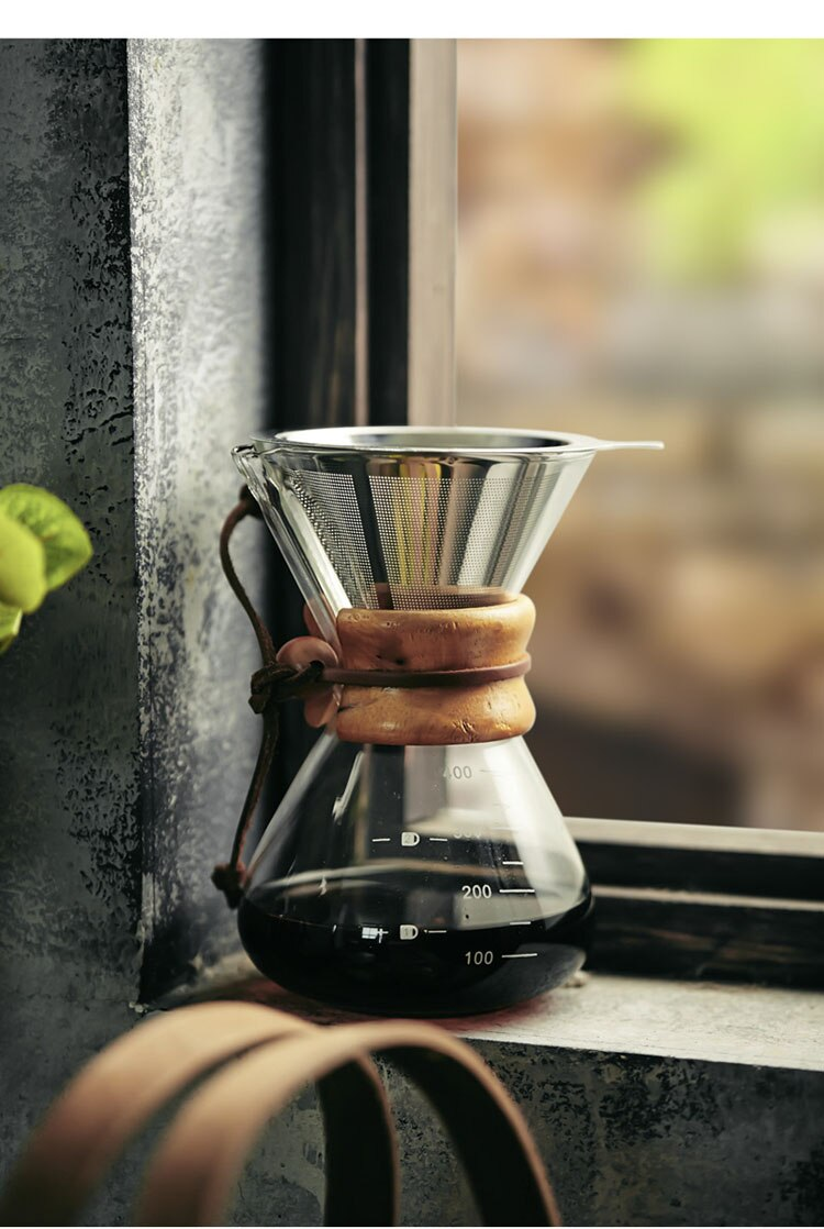 600ml Japanese  Retro Glass Hand-punched Coffee Pot  Home Portable Stainless Steel Coffee Filter Cup Drip-type Filter-free Paper