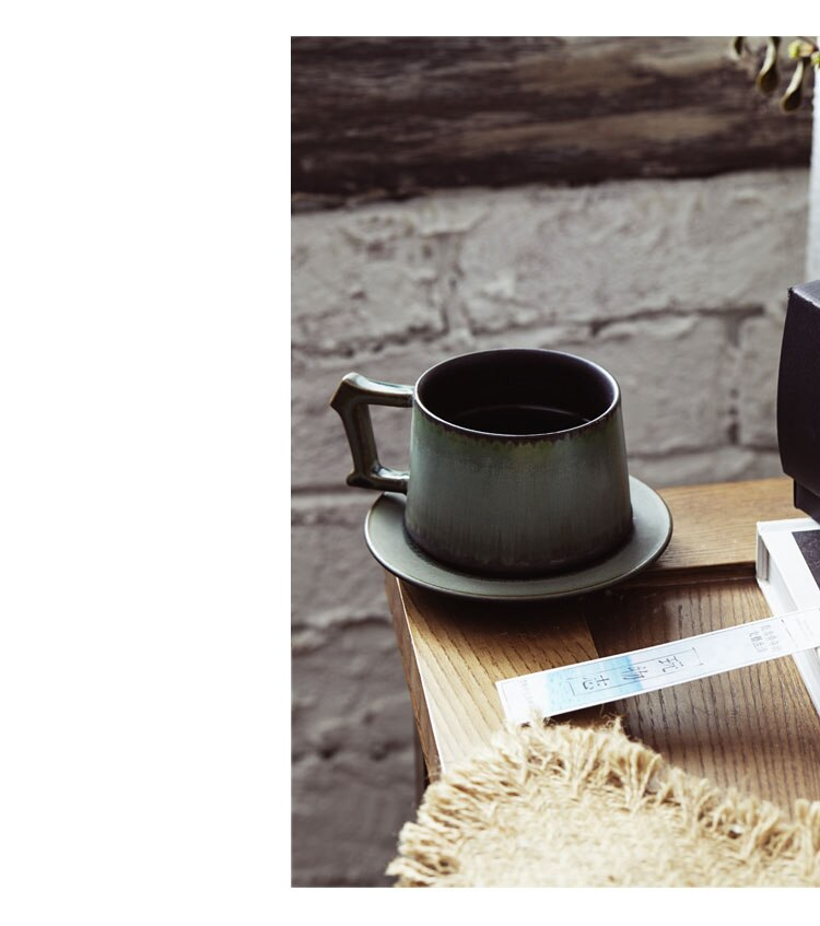 250ml Nordic  Retro Ceramic Coffee Mug Saucer Set Simple Retro Stoneware Couple Cup Home Office Afternoon Tea Tea Set Coffee Cup