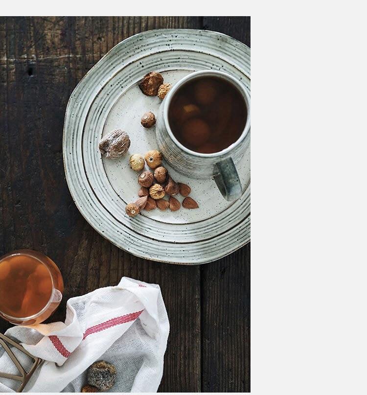 Japanese Retro Ceramic Coffee Cup Modern Large Capacity Threaded Mug Home Office Afternoon Tea Tea Cup Breakfast Milk Mug Single