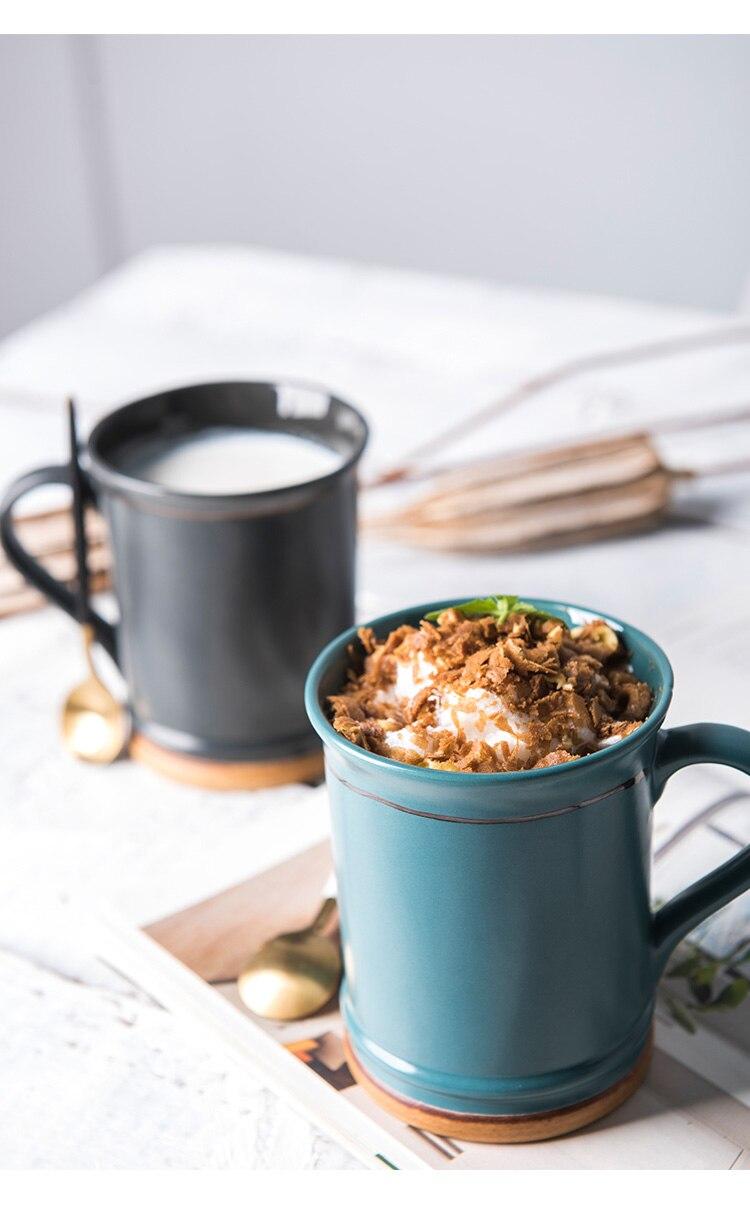 400ml Japanese Art Retro Ceramic Coffee Cup Household Large Capacity Breakfast Milk Mug Home Office Afternoon Tea Flower Tea Cup