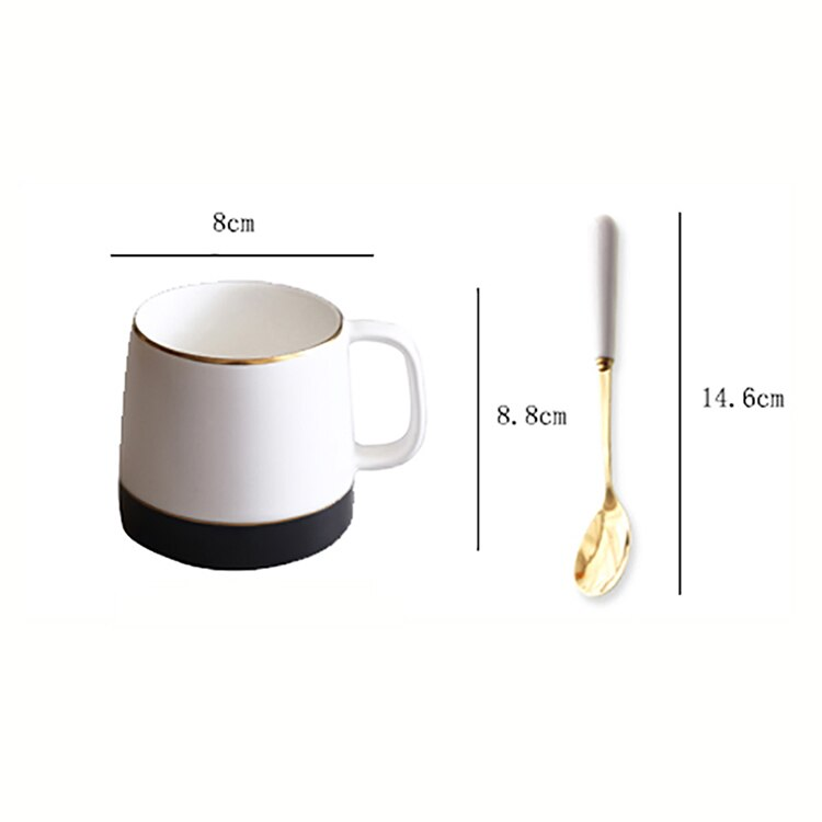 350ml Japanese Frosted Bone China Latte Cup American  Luxury Retro Ceramic Coffee Mug  Home Office Afternoon Tea Flower Tea Cup