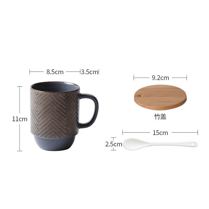 400ml Japanese Retro Ceramic Coffee Mug Luxury Large Capacity Striped Mug Modern Office Afternoon Tea Breakfast Milk Cup Single