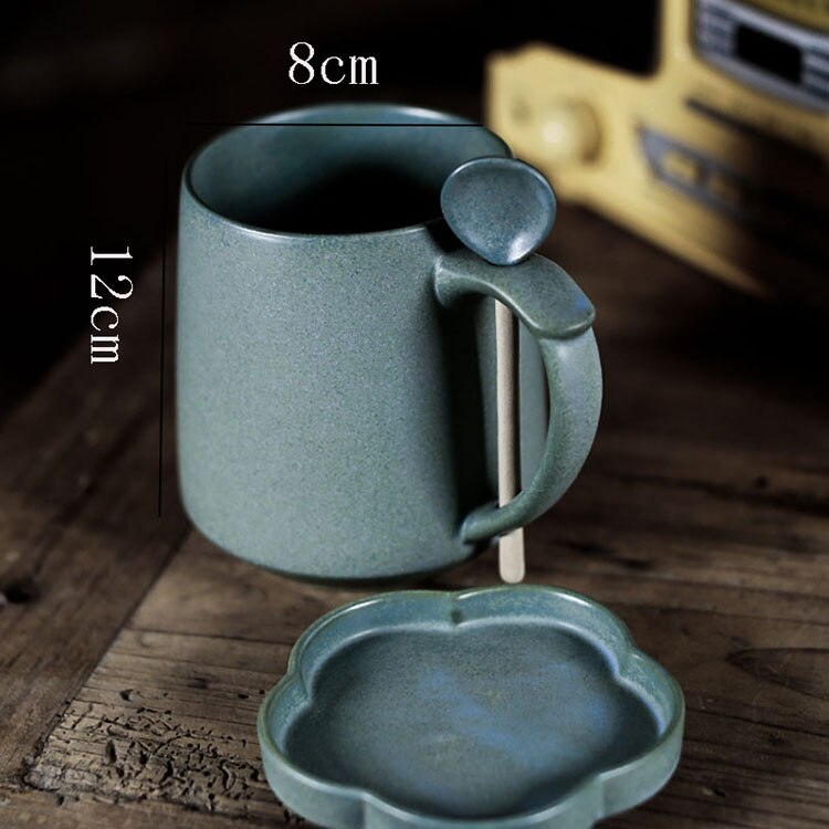 500ml Simple Art Retro Ceramic Breakfast Milk Coffee Cup with Lid Japanese Style Large Capacity Blue Frosted Mug with Lid Spoon