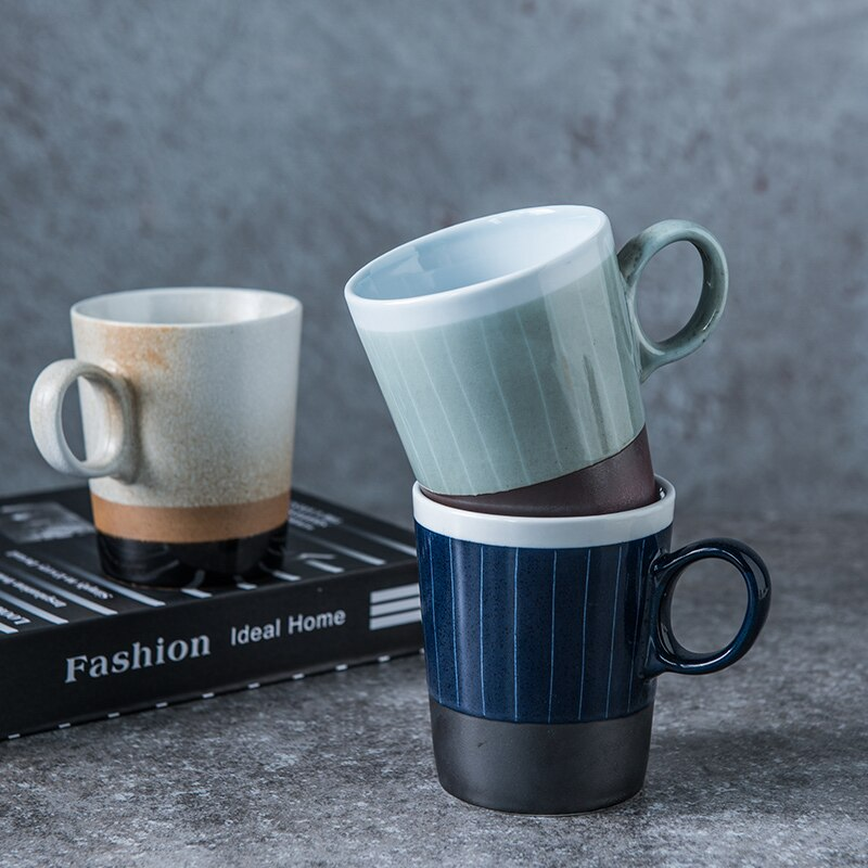 400ml Japanese Retro Ceramic Color Matching Coffee Cup Luxury Home Large Capacity Vertical Pattern Mug Office Breakfast Milk Cup