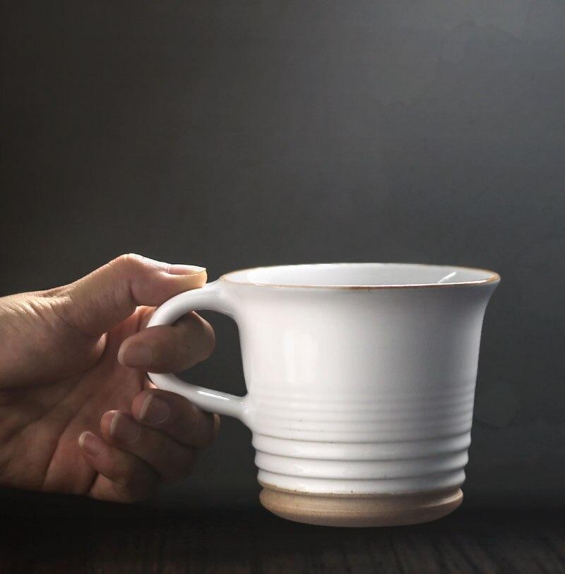 290ml Retro Ceramic Coffee Mug Japanese Style Stoneware Mug Simple Home Office Breakfast Milk Cup Afternoon Tea Flower Tea Cup