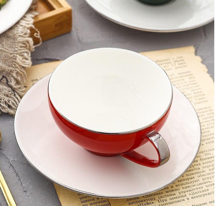 225ml Luxury Ceramic Black Coffee Cup and Saucer British High-end Ceramic Milk Mug Modern Home Afternoon Tea Flower Tea Cup Gift