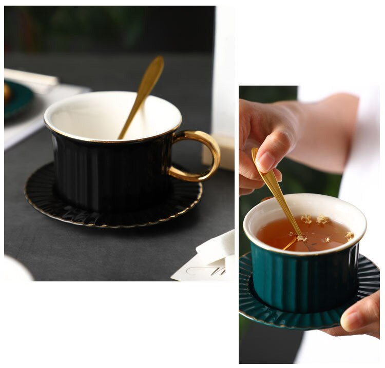 Nordic  Ceramic Luxury Coffee Cup Minimalist Office Afternoon Camellia Tea Milk Instant Drink Cup Saucer with Spoon Couple Gift