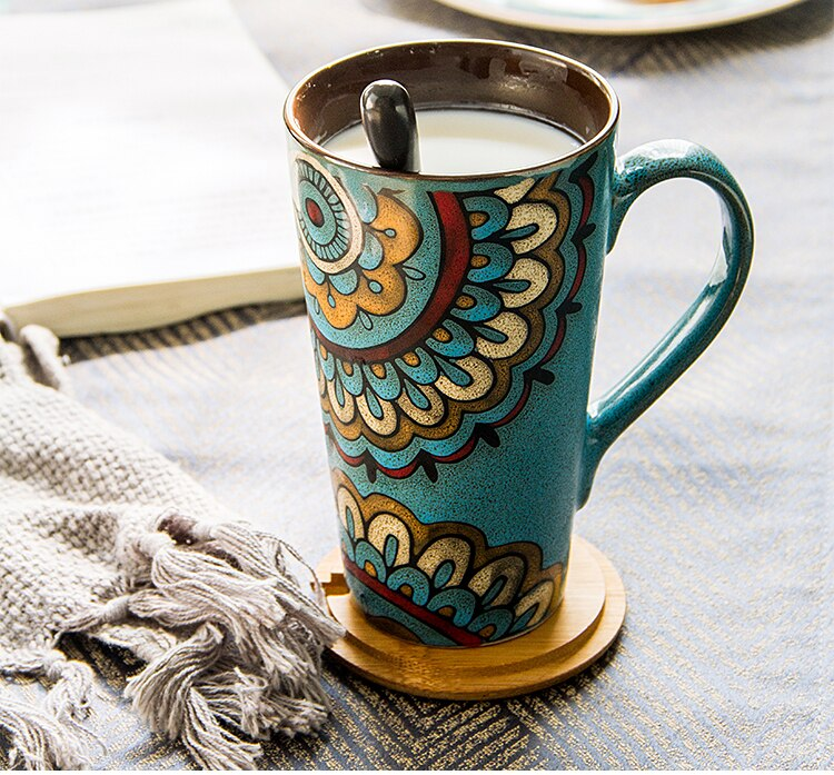 Nordic Painted Ceramic Coffee Mug Lid Spoon Large Capacity Couple Drinking Cup Modern Home Retro Milk Instant Beverage Cup Gift