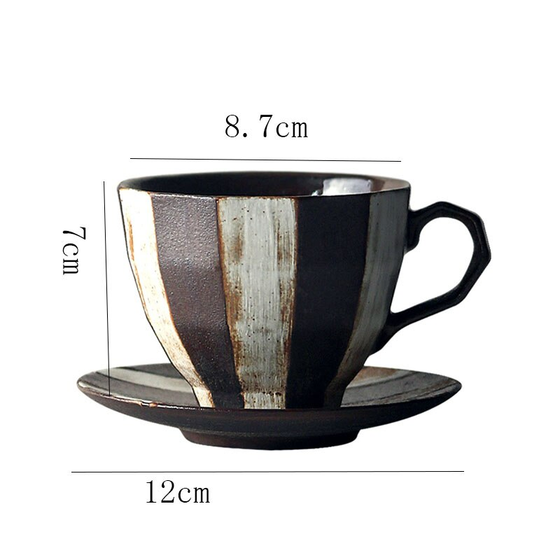 Japanese Retro Ceramic Striped Coffee Cup and Saucer Stoneware Mug Modern Minimalist Home Office Breakfast Milk Drink Cup 222ml
