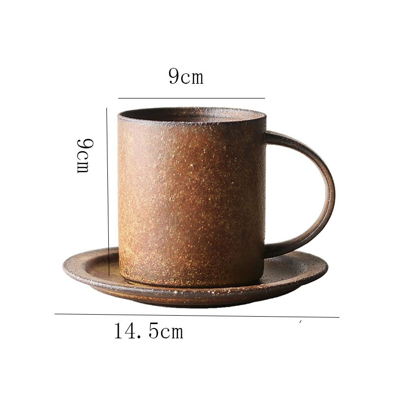 Japanese Retro Ceramic Coffee Cup Creative Household Stoneware Large Capacity Mug with Saucer Simple Kiln Changed Breakfast Cup